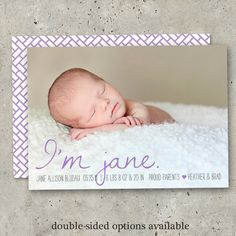 photo birth announcement baby boy or girl  Sweet by minkcards, $64.00