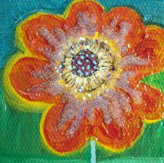 Original Handpainted Flower Mixed Media by HeatherMontgomeryArt, $22.00