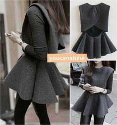 Fashion Women's Crew Neck Backless Coat Tops Pleated Skirt Mini Dress + T Shirt #Unbranded #SweaterDress #Casual