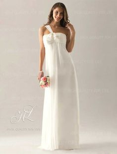 Bridesmaid- Just for the color/fabric.) Empire One Shoulder Floor-length Chiffon Over Elastic Satin Bridesmaid/ Wedding Party Dress Ivory Bridesmaid Dresses, Cheap Bridesmaid Dresses Online, Satin Dresses, Chiffon Dress, Chic Dress, Dress With Bow, Wedding Party Dresses, Buy Dress, Special Occasion Dresses