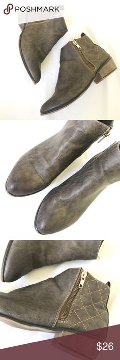 🎉HP🎉MOSSIMO SUPPLY ankle boots MOSSIMO supply ankle boots in brown. Excellent used condition. Used once. They have zippers on both sides and no marks on leather parts. Mossimo Supply Co Shoes Ankle Boots & Booties