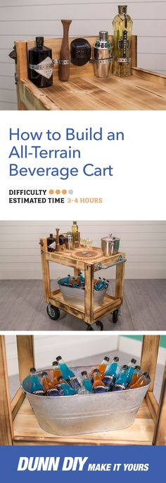 Our all-terrain beverage cart is big enough to hold a tub full of iced drinks, and it rolls easily on decks, patios, lawns, and paths. Visit our simple step-by-step tutorial for more.