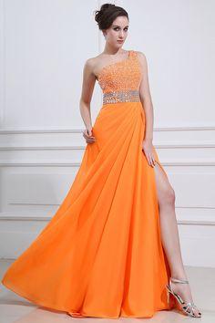 Orange Chiffon Floor-Length A-Line Prom Dress