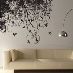 Tree Branch with Birds Vinyl Wall Art Decal (WD-0223)  ============================================= How to Select the color for decal Please leave following note when you check out in Note/ commenet