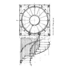 Today's drawing is a spiral staircase, hidden within a panellized Mies-inspired cube. Vertical wood slats make up the walls of the interior circle, and are repeated on the balustrade. The r…