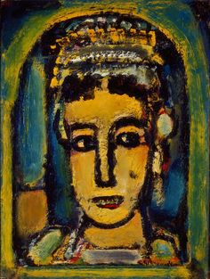 Georges Rouault (French, 1871–1958)  Oriental Queen [Reine Orientale], ca. 1945  Oil on canvas  16 1/8 x 12 in. (40.96 x 30.48 cm)  Gift of Mrs. Harry Lynde Bradley M1959.380   Photo credit Efraim Lev-er  ©2010 Artists Rights Society (ARS), New York / ADAGP, Paris