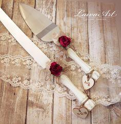 Rustic Wedding Cake Server Set & Knife Cake Cutting Set Wedding Cake Knife Set W. Wedding Cake Knife Set, Wedding Cake Server, Wedding Cakes, Wedding Cake Knives, Wedding Pins, Wedding Ideas, Red Rose Wedding, Maroon Wedding, Burgundy Wedding
