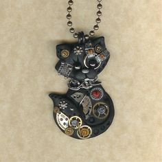 Steampunk Black Kitty Cat Polymer Clay Jewelry Necklace