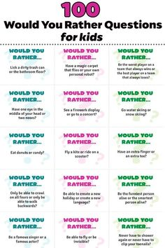 Would You Rather Questions For Kids – these free printable cards are great for car trips, ice breakers or an afternoon boredom buster! Kids will love playing this game! - Kids education and learning acts Would You Rather Questions, This Or That Questions, Kids Questions, Would You Rather Kids, This Or That Game, Funny Questions, Br Games, Drama Games, Dice Games