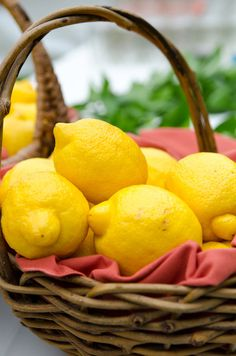 party idea #2- lemons in baskets as centerpieces, with lavender sprigs in the sides.