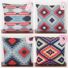 Aztec Kilim Print Linen Cushion Pillow Cover