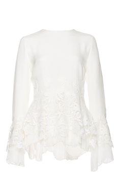 Ivory silk shirt with lace pleat hem by OSCAR DE LA RENTA Now Available on Moda Operandi