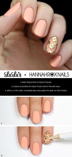 Peach and Gold Studded Nail