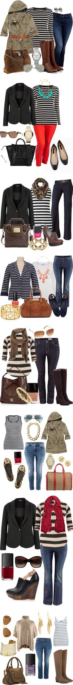 I am usually leary of horizontal stripes, but these outfits are classy and on trend! How to do stripes - Plus Size Curvy Girl Fashion, Look Fashion, Plus Size Fashion, Autumn Fashion, Womens Fashion, Fashion Trends, Xl Mode, Mode Plus, Fall Outfits