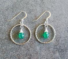 Green Onyx Earrings in Sterling Silver / Crystal Hoop Twisted Earrings / Gift for Her / Hoop Dangle Earrings / Bohemian Earrings Handmade Jewellery, Unique Jewelry, Handmade Gifts, Green Onyx, Hoop, Dangle Earrings, Dangles, Gifts For Her, Bohemian