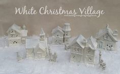 White Christmas Village - dollar store buildings spray painted color of your choice!