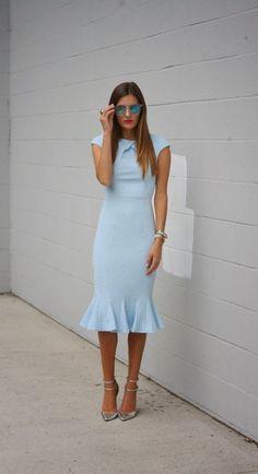 Shop this look on Lookastic:  http://lookastic.com/women/looks/sunglasses-sheath-dress-bracelet-watch-pumps/10669  — Blue Sunglasses  — Light Blue Sheath Dress  — Silver Bracelet  — Gold Watch  — Silver Leather Pumps