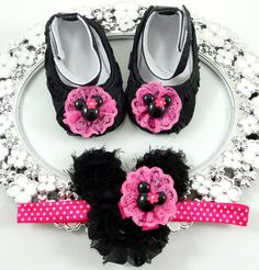Baby Girl Crib Shoes and Headband Set, Newborn Baby Girl Shoes, Baby Accessories, Shower Gift, Gift for Baby by BabyLaylaLand on Etsy