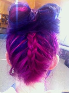 pink purple braid bow