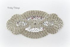 Silver Beaded Oval Applique, Sequin Applique, Silver Applique. $8.00, via Etsy.