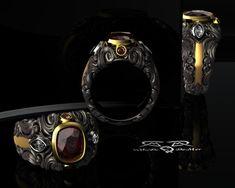 Intricate 14kt European Yellow Gold, Black Silver, Rhodolite Garnet & Diamond Mens Ring. Iago Shakespeare.