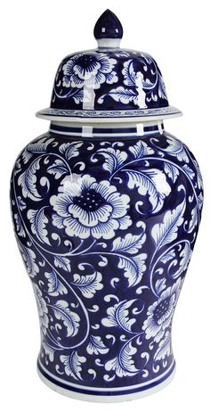 Traditional style meets modern design in this ginger jar. Featuring an over all floral design in blue and white, a decorative lid, a graceful shape and modern design vibe, make this jar a part of your kitchen experience. It looks beautiful as a stand Chinoiserie, Decorative Objects, Decorative Accessories, Bathroom Accessories, Keramik Vase, Vine Design, Ceramic Jars, Blue And White China, Navy Blue