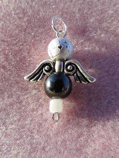 Handmade Blue/Silver & Black Beaded Angel Charm or Pendant