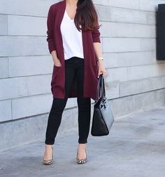 Black jeans, Burgundy open front cardigan, Kate Spade Jovie leather satchel, White Whisper Cotton V-Neck Pocket Tee, leopard pumps, burgundy sweater, oversized cardigan, black petite jeans, fall fashion - click the photo for outfit details!