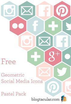 Geometric Social Media Buttons Pastel Pack - free to download from Blogtacular
