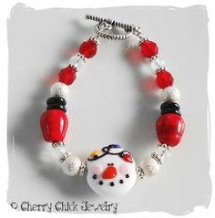Snowman with Holiday Lights Lampwork Bracelet | CherryChick - Jewelry on ArtFire