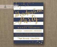 Navy & Gold Graduation Party Invitation with Gold Glitter and Navy Blue horizontal stripes by digibuddhaPaperie, $20.00