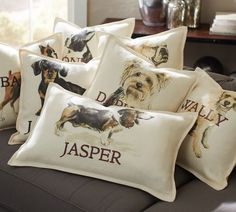 Dog pillow covers, personalized. Basset hound, Boston terrier, boxer, bulldog, dachshund, German shepherd, Golden retriever, Labrador retriever, Norwich terrier, Poodle, Yorkshire terrier, and a yellow terrier-like thing.