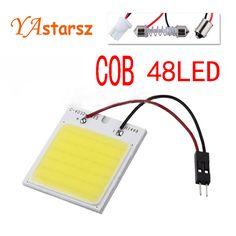 C5w cob 48 SMD 칩 12 와트 슈퍼 화이트 독서 램프 led 돔 t10 전구 주차 자동차 인테리어 패널 빛 꽃줄 자동차 스타일링