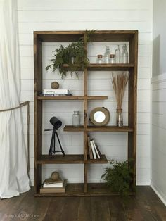 This shelf is perfect for any space, literally! Whether you need to fill a wide space or a tall space, this unit has you covered. It is designed so that is can be rotated to fit your needs. Get the free DIY plans by @coreydecker at buildsomething.com