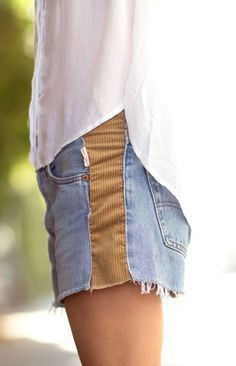 sew in some extra fabric in denim shorts that have gotten too small ! sew in some extra fabric in denim shorts that have gotten too small ! Diy Clothes Refashion, Diy Clothing, Sewing Clothes, Recycled Clothing, Refashioned Clothes, Jeans Refashion, Refashion Dress, Sewing Shorts, Recycled Fashion