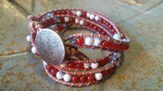Fierce Red Fire Quartz Gemstone & White by StudioSunshineCo