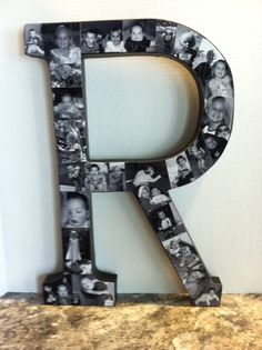 Mother's Day idea...initial from Joann's, painted black, add black & white photos of the kiddos. Made for my daughter for Mother's Day!