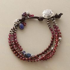 """TINTO BRACELET - Iolites, sapphires and sterling silver are highlights within a multi-strand garnet bracelet featuring a rosy mix of gems: garnets, plus tinted jade and cultured pearls. A handcrafted exclusive. Button and leather loop closure. 6-1/2"""" to 7-1/2""""L."""