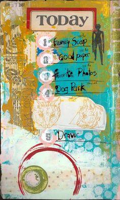 mixed media art journal page by Patty Van Dorin / ramblingrose
