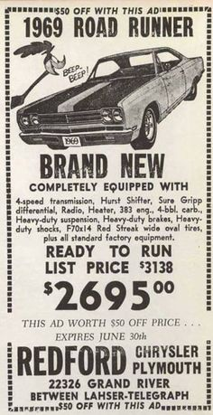 for more vintage cars hot rods and kustoms Audi 100, Hot Rods, Old Advertisements, Car Advertising, Us Cars, Road Runner, Old Ads, American Muscle Cars, Future Car