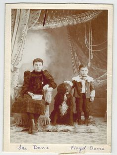 Original Cabinet Photo Girl, Boy with Newfoundland? Dog, Ona & Floyd Davis 1892