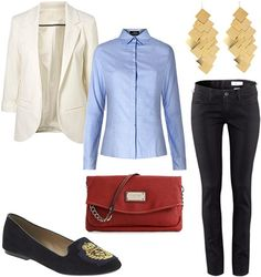 """The mature one"" outfit - White blazer, black jeans, button-down shirt, small bag, earrings, smoking slippers"