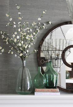 How to style a Mantle and that Chandelier in the mirror.