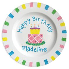 Happy+Birthday+Cake+Girls+Hand-Painted+Ceramic+Plate+-+Jack+and+Jill+Boutique