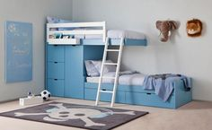 http://www.justsoakit.com/wp-content/uploads/2015/01/interesting-childrens-room-in-blue-interior-design-with-elegant-bunk-bed-plus-drawer-storage-underneath-also-gray-rug-on-floor-alog-with-animal-decor-on-the-wall-970x596.jpg