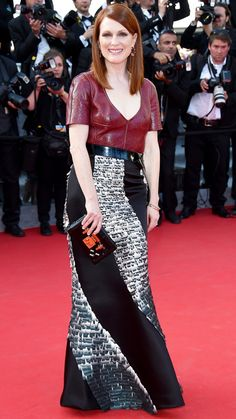 The Best of the 2014 Cannes Film Festival Red Carpet - Julianne Moore . . . The actress stunned in a custom Louis Vuitton by Nicolas Ghesquière oxblood v-neck leather top and belted feathered mermaid skirt, which she paired with a Louis Vuitton clutch and Chopard jewels.