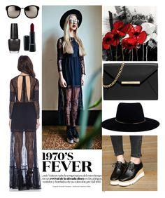 """lace black dress platform shoes flat street look"" by fashionvivianguo ❤ liked on Polyvore featuring Linda Farrow, MICHAEL Michael Kors, OPI, MAC Cosmetics, Zimmermann, women's clothing, women's fashion, women, female and woman"