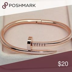 ⚜️Nail Bracelet⚜️ She's so beautiful! Such a simple yet elegance bracelet. This is a Rose Gold tone. It is 18k plated. I only have one. Jewelry Bracelets