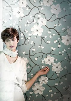Silence (Visit www.xessex.com.sg for the latest ranges and collections of #wallcoverings and #wallpapers!) #flowers #blue #white #chinoiserie #oriental