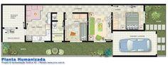 Planta da casa em terreno estreito com outra disposição quanto à utilização dos espaços